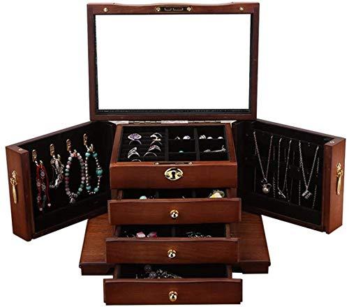 Jewelry Box for Women, Caja de joyería de madera con espejo Organizador de joyería con bloqueo 4 cajones Organizador y 2 puertas abiertas separadas en 2 lados Regalo para mujeres Trinket de tesoro mul