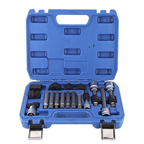 Akozon Juego de extracción de polea 18Pcs/Set Kit de desmontaje de desmontaje de polea de alternador Herramienta de reparación de automóviles