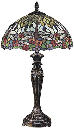 Dale Tiffany TT100588 Tiffany/Mica Two Light Table Lamp from Dragonfly Collection in Bronze/Dark Finish, 17.00 inches, Fieldstone