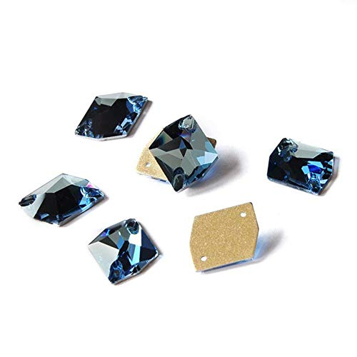 PENVEAT K9 Elemento de Cristal de Vidrio AB Esmeralda Fucsia Coser en Diamantes de imitación Encanto Piedras para la decoración de la joyería de la Prenda, Aguamarina, 16x20mm 9pcs