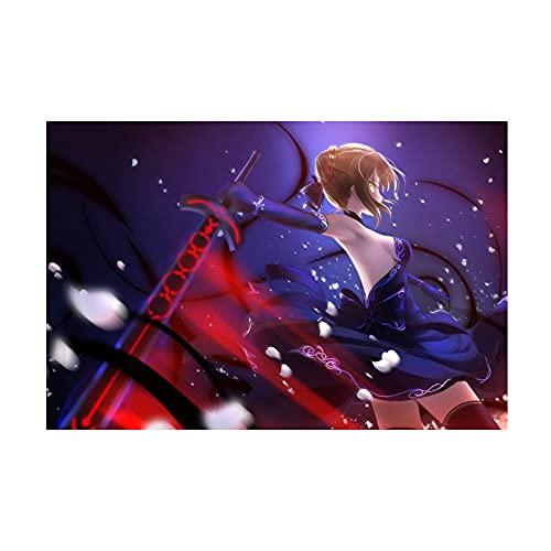 HQHQH Fate Saber Wooden Rompecabezas de Madera de Anime Rompecabezas de Juegos de Juguete de descompresión Familiar (300pcs)