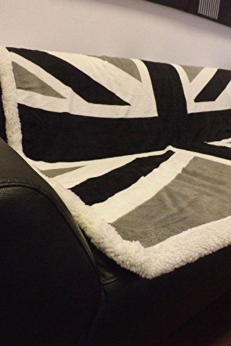 Rapport Britische Flagge Vereinigtes Königreich Union Jack Weicher Überwurf, schwarz/weiß/grau.