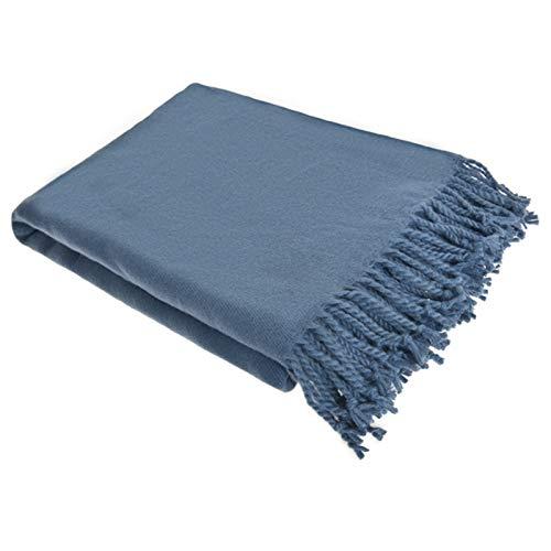 ADSIKOOJF Borla Punto Manta De Forro Polar para Couch,Sofá De Decoración Ligero Tejido Manta De Piel Granja Rústico Manta De Punto,51'X 67',Marrón-Azul. 130x170cm(51x67inch)