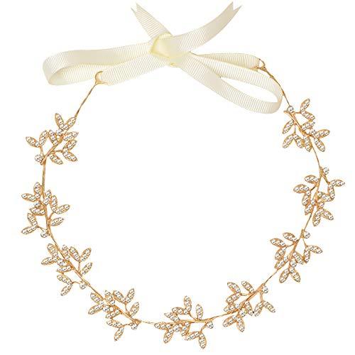 ArtiDeco Braut Haarband Silber Kristall Blinkender Braut Haarschmuck Handgefertigtes Vintage Braut Stirnband Braut Hochzeit Accessoires Party Stirnband (Stil 1 - Gold)