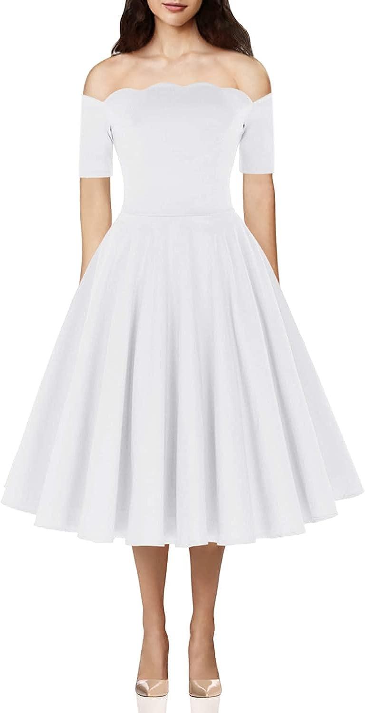 PAUL JONES Women's 1950s Off Shoulder Swing Dress Knee Length Vintage Dress