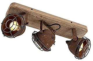 QAZQA Plafón industrial óxido madera orientable 3-luces - GINA/Acero Alargada Adecuado para LED Max. 3 x 25 Watt