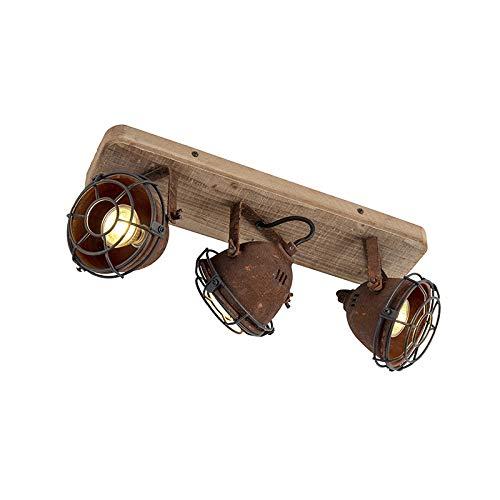 QAZQA Industrie/Industrial Tough Spot/Spotlight/Deckenspot/Deckenstrahler/Strahler/Lampe/Leuchte Rost und Holzdecke Platte 3-flammig Spotbalken-Licht - Gina/Innenbeleuchtung/Wohnzimm