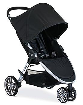 Britax B-Agile Lightweight Stroller Black - One Hand Fold Large UPF50+ Canopy All Wheel Suspension