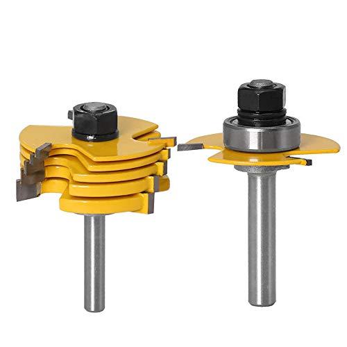 Gasea - Juego de brocas de topo de 3 alas ajustables, para carrete de ranura, broca de madera, mecha de carpintería, con 6 unidades, hoja de corte de 1,8 mm, 2,5 mm, 3 mm, 4 mm, 5 mm, 6,35 mm