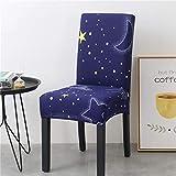Fundas para sillas 4 Pieza Cielo de la Noche Azul Lavables...