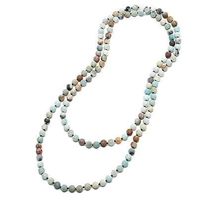 8mm Natural Amazonite & Blue Goldsand Long Beaded Necklace Wrap Bracelet Handmade Jewelry for Women Men