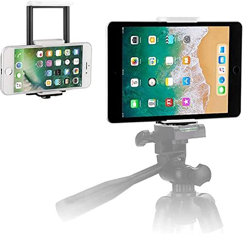 PEYOU タブレット&スマホ用三脚マウント スマホホルダー 7-10インチ 三脚/自撮り棒両用 1/4ネジ穴 クリップ 固定 角度調整 iPad/iPhone/タブレット/スマホスタンド(黒)