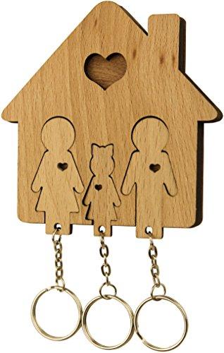 MiMi - Schlüsselbrett aus Holz mit Set Schlüsselanhänger - Familie mit Tochter