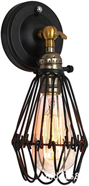 Retro Industrial Wind Wandleuchte, Edison Glühbirne Balkon Gang Bar Restaurant Cafe Leuchte (Farbe   SCHWARZ-4W LED bulb)