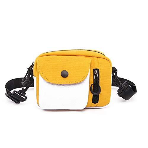 Shoulder Bags Canvas Panelled Flap Handbag 2019 Purses and handbags Portable Mobile phone bag,Yellow