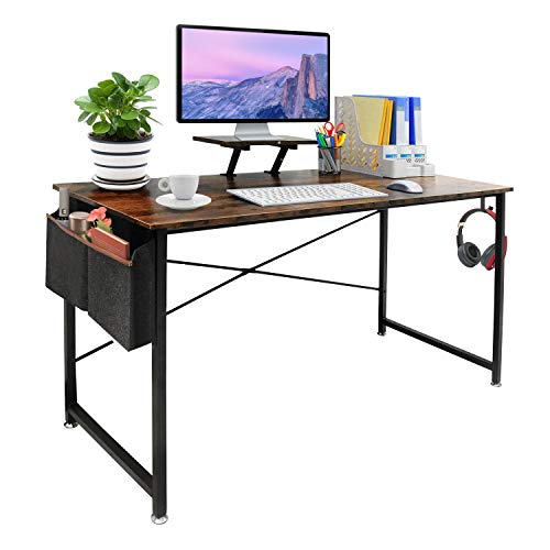 Seeutek Study Computer Desk Modern Writing Table 47 Inch Simple Style Laptop Desk with Storage Bag and Hooks for Home and Office