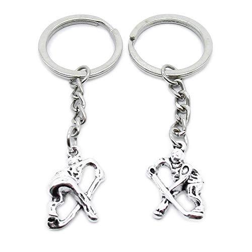 AA4620 Schlüsselanhänger, antiker Silberton, für Eishockey-Kette, Ring und Anhänger silberfarben antik-optik