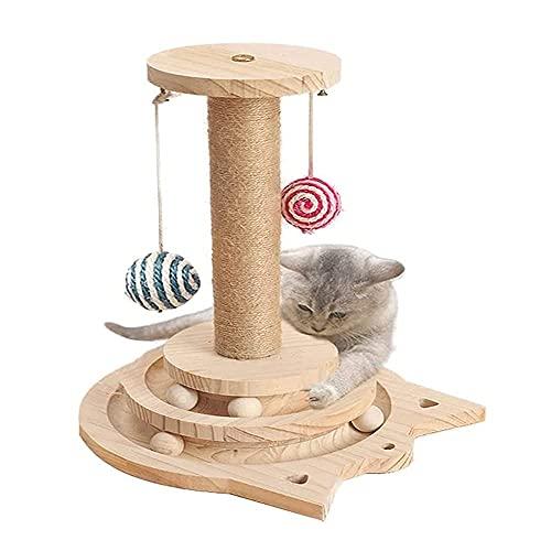 Yang Xin.Style Zwei Fußboden Holzkugel-Katzenspielzeug, Drehscheibe Katze Kratzbaum, interaktives Katzenspielzeug