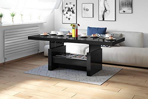 Design Couchtisch Tisch Aversa H-111 Schwarz Hochglanz Schublade höhenverstellbar ausziehbar Esstisch