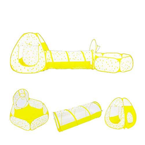 Carpa 3pcs / Set De Juguetes De Niños del Aro De Baloncesto Playhouse, Plegable Arrastre De Túnel Portátil De Dibujos Animados Tienda del Juego 0130 (Color : Yellow)