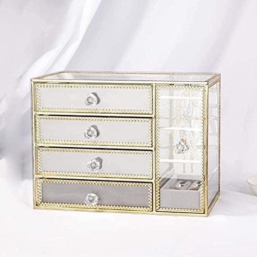 ERDDCBB Jewelry Box Organizer Case Organizador de la joyería 4 Cajones 1Earring Percher Anillos transparentes de dos en uno Caja de pulseras para mujer Girls Regalo Bellamente caja de almacenamiento D