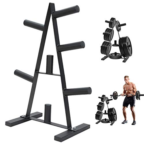 Yinguo Olympic Weight Plate Rack, A Frame Weight Plate Bar Tree for 2 inch Bumper Plates Free Weight Stand Holder, Home Gym Fitness Workout, Barbell Dumbbell Storage Rack, Max Load 400lbs