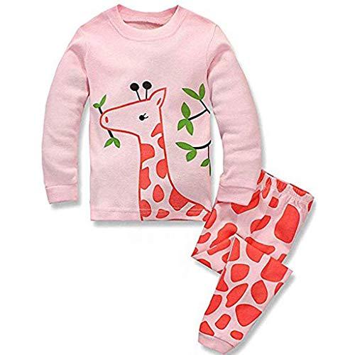IMJONO Ensemble Bébé Fille Automne Vêtement Enfant Hiver Manche Longue Pas Cher Girafe Imprimé Mode Haut Chemise T-Shirt Fille + Pantalons Garçon Fille Accueil Pyjama Ensemble(Rose,6-7 Ans)