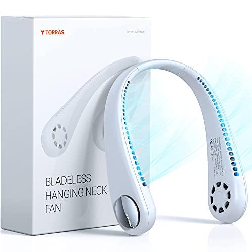 TORRAS L2 Series Portable Neck Fan, Hands Free Wearable Bladeless Fan, Ultra Light Rechargeable Mini USB Fan for Travel/ Home/ Office, 3 Speeds