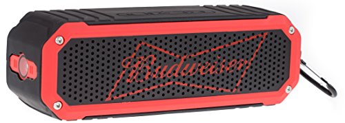 Budweiser Rugged Bluetooth Speaker, Wireless Shock Proof LED Flashlight Audio Sound Stereo Music Player (Water Resistant) Bluetooth Ultra Grip Portable Travel Speaker- Budweiser Red