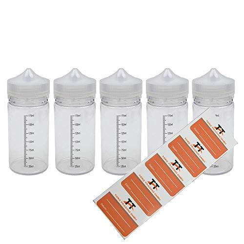 TORG TRADING 5 x 200ml Stiftflaschen o. Unicorn Bottle mit Skala inkl. 5 Etiketten - Kunststoffflaschen PET - Leerflasche, Liquidflasche, Tropfflaschen, Dosierflaschen, Quetschflaschen (200ml)