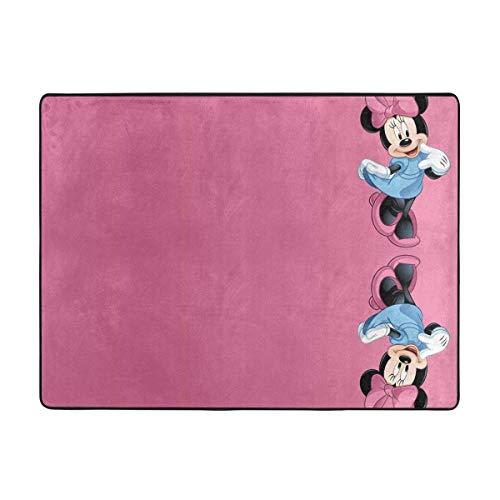 Alfombra suave de Minnie Mouse para sala de estar, dormitorio, habitación de niños, habitación de niñas, cuarto de guardería, decoración del hogar, 155 x 100 cm