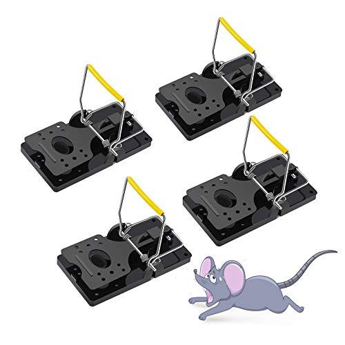 Hewolf Trampas para Ratones Grandes Profesional Trampas para Ratas Reutilizable Trampa para Ratón Rápida de Plástico Control de Roedores Fácil de Usar Negro Asesino de Ratones, Paquete de 4 XX