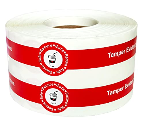 """Safe Secure Tamper Evident Seals Stickers for Drink Lids 1"""" x 9"""" - 500 Pcs Food Delivery Stickers Sealed for Freshness Labels Drink Food Seal Stickers"""