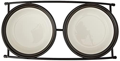Trixie 24790 Napf-Set Eat on Feet, Keramik, 2 x 0.25 l/12.5 cm, rot/schwarz/creme - 2