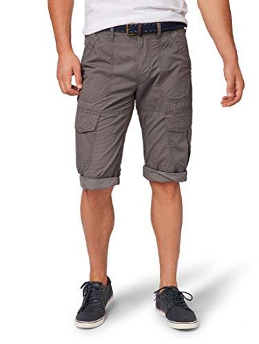 TOM TAILOR Herren Morris Jeans Hose Shorts, Grau (Grey Dot Minimal des 15905), 30
