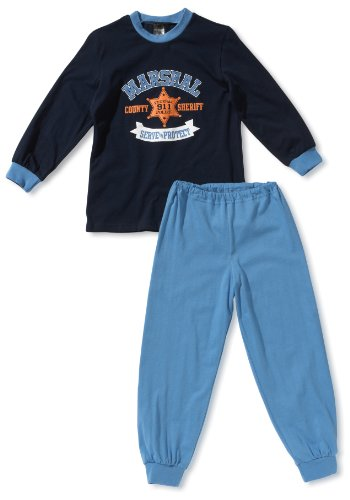 Schiesser jongens pyjama 136043-803, maat 104 (3Y), blauw (803-donkerblauw).