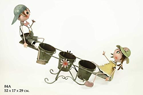 CAPRILO Macetero Triple Decorativo de Metal Niños en Balancín. Adornos y Figuras. Decoración para Jardín. Regalos Originales. 52 x 19 x 29 cm. IB 2