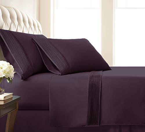 Southshore Fine Living, Inc. Vilano Pleats - 21 Inch Extra Deep Pocket, 4-Piece Sheet Set, King, Purple