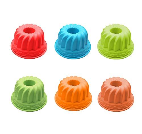 Unique'store 12 Stück Silikon BackformØ 7cm, Silikon geriffelte Dessertform, Silikon Gugelhupf Kuchenform,Wiederverwendbare Kuchenform Set für DIY Backen(gelegentliche Farben)