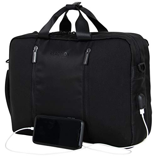 Kenneth Cole Reaction Backpack with USB Charging Port, Black, 15' Laptop