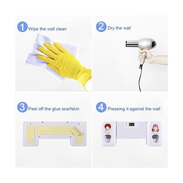 Dispensador de pasta de dientes automático de Puersit, manos libres, doble,