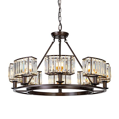 OSAIRUOS Bronze Crystal Chandeliers Modern Contemporary...