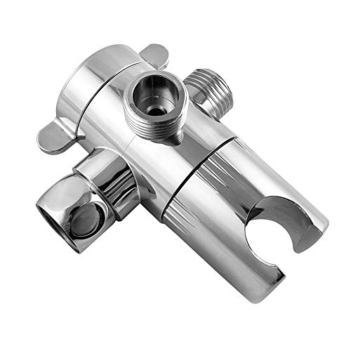 "QWORK 3 Way Shower Diverter Valve 1/2"" with Hand Shower Cradle for Bathroom Hand Shower Hardware Accessory"
