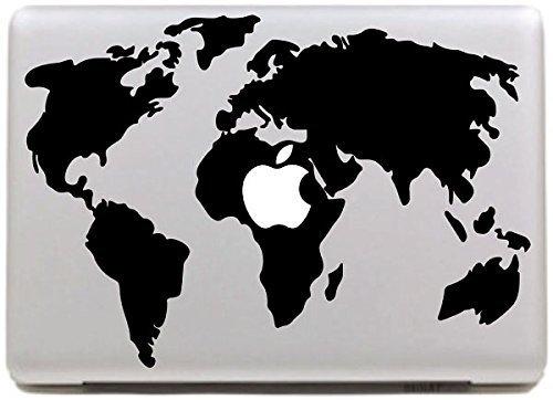VATI Fogli smontabili Mappa del Mondo Cool Design Migliore del Vinile della Decalcomania di Arte della Pelle Nero Perfetto per Apple MacBook PRO Air Mac 13'Pollici/Unibody 13 inch Laptop