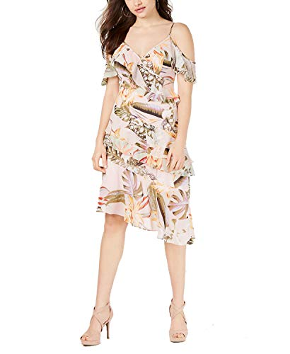 GUESS Womens Danie Floral P Ruffled Cocktail Dress Pink S
