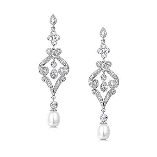 MASOP Lang Perle Ohrringe Blume Chandelier Ohrhänger Silber-Ton Weiß Zirkonia für Braut
