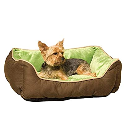 K&H Manufacturing Self-Warming Lounge Sleeper Pet Bed, Mocha/Green, Small