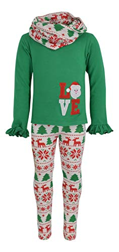 Unique Baby Girls 3 Piece Christmas Santa Love Embroidery Outfit (7) Green