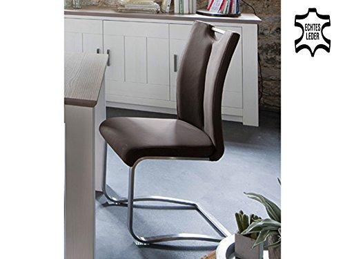 möbelando Schwingstuhl Küchenstuhl Esszimmerstuhl Schwinger Stuhl Kerrin II (2-er Set) Braun