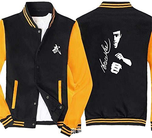 Sudadera unisex, Uniforme de la camiseta de béisbol de los hombres - Bruce Lee Pullover de moda de un solo pecho de la rebeca del suéter del resorte de costura de las mangas de la chaqueta de deporte